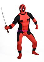 al por mayor traje de los hombres de holloween-2016 nuevos hombres Heros Deadpool Deadpool traje Zentai traje rojo de cuerpo completo Spandex X Men Cosplay Mono Para Holloween Masquerade C402