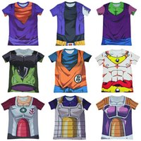 animated turtle - Dragonball animated cartoon compressed round collar short sleeve T shirt Vegeta battle dress Wukong Foley sand turtle immortals