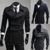 korean men fashion - 2015 New Fashion men Trench coat Korean Slim fit Business casual wool blended coats men s clothing for winter autumn overcoat