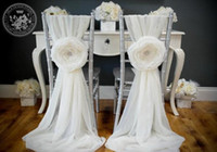 wedding decorations - White Chair Sash for Weddings with Big D Flowers Chiffon Delicate Wedding Decorations Chair Covers Wedding Accessories