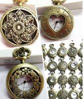 classical pocket watch - Mini Retro Vine Pocket Watches classical Floral Hollow watch Necklace Pendant watch Bronze Steampunk Quartz watches Chain watches