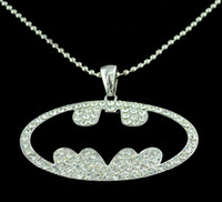 bats beaded necklaces - Silver Beaded Chain stainless steel Clear Rhinestone Batman Bat Pendant Necklace