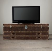 Wholesale RH European style art furniture TV cabinet TV Media Entertainment Units TV cabinets custom made artificial leather