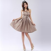 Model Pictures A-Line Strapless strapless brown women girl braidsmaid dresses 2015 a line short bridemaid dress satin made in china free shipping B2514