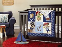 Wholesale 3D embroidery Pirates of the Caribbean pieces baby bedding set include Quilt Bumper bed Skirt Mattress Cover