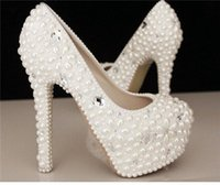 Wholesale 2015 Fashion Luxurious Pearls Crystals Wedding Shoes Custom Made Size cm High Heel Bridal Shoes Party Prom Women Shoes A07