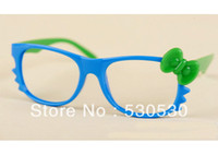 Wholesale Lovely Kids Bowknot Sun Glasses Kitty Cat Frame Glasses With Candy