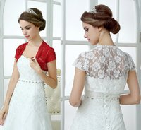 black friday - 2014 White Red Lace Bridal For Wedding Wraps Shawl Boleros Shrugs Autumn Women Short Sleeve Bridal Jackets Black Friday Christmas Day