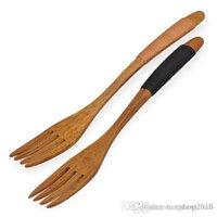 Wholesale Natural Wood Forks Western Tableware Dessert Fruit Serving Children Food Utensil