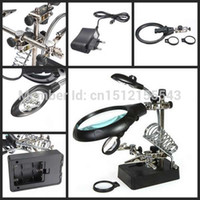 Wholesale New LED Auxiliary Clip AC DC Interchangeable Hands Free Magnifying Glass Magnifier order lt no track
