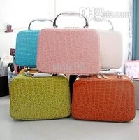 aluminum grain boxes - New Retro Korean Women Cosmetic Case Stone Grain Bulk Storage Clutch Female Organizer Makeup Bags Jewelry Box Colors