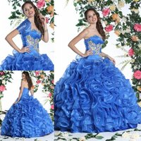 beaded cluster - 2015 Tiered Organza Applique Beaded pleats sweetheart Quinceanera ruched pretty clustered flower Ball Gowns sweep train lace up Bolero Dress