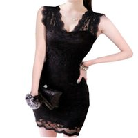 Bodycon Dresses sexy night clothes - New Womens Dresses Code Slim Package Hip dress V Sexy Nightclub Tight Sleeveless Evening Dress Fashoin Lace Night Out Club Clothing