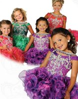 Reference Images Girl Beads Colorful 2014 Gorgeous Flower Girls' Dresses Crystal Beaded Sparkle Organza Tiered Piping Mini Length Girls Pageant Gowns Made In China ZX