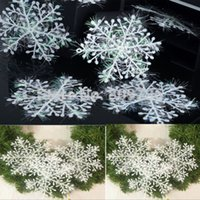 Wholesale 30PCS New Fashion White Snowflake Sheet Ornament Christmas Tree Decorations Home Festival Decor cm Shining Drop Free