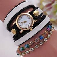 50X caliente venta de moda de verano más reciente de estilo popular hawaiano espumoso Rhinestone cuero cadena de cuarzo relojes mujeres reloj