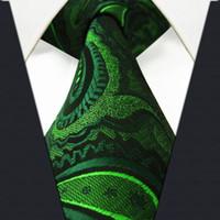 ties silk - U30 Paisley Floral Dark Green Black Mens Neckties Ties Silk Extra Long Jacquard Woven Brand New
