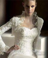 Wholesale Wedding Accessories Long Sleeve Jackets Elbow Bridal Bolero Applique Wedding Jacket Bridal Wraps Jackets