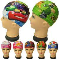 Wholesale 60pcs frozen Children swimming cap print car cartoon caps for swimming Caps Hats Spiderman Children Swimming Hats Kids Swimming BFH972