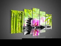 modern painting decorative - Hand painted Hi Q modern wall art home decorative flower oil painting on canvas Bamboo cobblestone pink blooming phalaenopsis5pcs set framed
