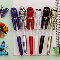 Wholesale Creative Ball point pen Skull Boxing Action Eyes led RedHalloween Fun interesting Gift Student Stationery Office Articles