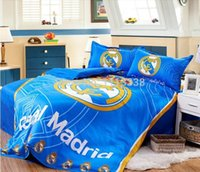 Wholesale Real Madrid Fan Bedding three piece Sheets Pillow Covers Football Souvenir