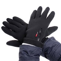 leather winter gloves - Black Windstopper Simulated Leather Windproof Soft Warm Winter Outdoor Gloves M L XL H4982 EMS