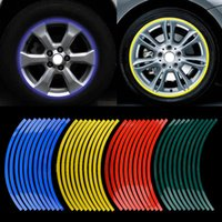 Wholesale 20pcs Strips Motorcycle Car Sticker Wheel Tire Stickers Reflective Rim Tape motorcycle Car Styling