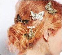 Wholesale Fashion Hot pair Vintage Shiny Gold Hollow Butterfly Bridal Hair Pins Clip Headpiece Barrettes Hairgrips Hair Jewelry Accessories
