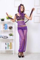 arab dance - 2016 New Purple Temptation Arab Dancing Diva Costume India Sexy Lingerie Club Performance Gauze Suits Cosplay Classic Halloween Women Set
