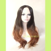 heat resistant hair - Instock Dark Brown Auburn Ombre Silky Straight Heat Resistant Synthetic Hair Wig Ombre Kanekalon Wig
