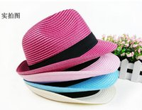 Wholesale Fashion Womens Mens Unisex Fedora Trilby Gangster Cap Summer Beach Sun Straw Panama Hat Couples Lovers Hat DHL Free