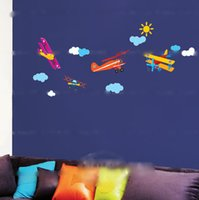 airplanes and babies - Removable Cartoon Airplane and Wall sticker decals Nursery Kids Room Home Decoration baby