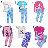 Cheap 2015 Baby Girls Frozen Pajamas Kids Anna Elsa Olaf Princess Pajamas Children Summer And Autumn Clothes New Cotton 2Piece Set 6styles