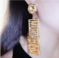 alphabet big letters - gold metal letter studs earring fashion punk earring Letters big exaggeration long earrings for women vintage jewelry