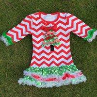 chevron dress - new Christmas baby girls Christmas tree cotton red white chevron dress