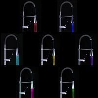 Wholesale Glow LED Faucet Light Water Stream Tap Kitchen Faucet Bathroom Basin Sink Multicolor Colors torneira cozinha banheiro order lt no track