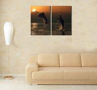 al por mayor lona estirada-HD Canvas Print cuadro de la pintura del arte de la pared de la decoración casera (NINGUÌ N estiramiento) Mar, puesta del sol, delfínes