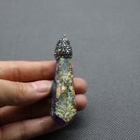achat en gros de cristal pendule quartz-Titanium Rainbow Cristaux Point Pendentif Cristal Quartz Collier Perles Pierre précieuse Healing Pendule Pendule Pierres naturelles Gemmes Pierre Quartz