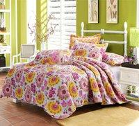 achat en gros de reine édredon floral-Gros-Consolateur Bed Cover Dekbedden En Dekens imprimé floral Cotton Quilt Set Reine Couvre-lit Quilt