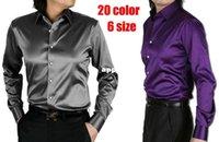 Cheap 2014 Mens Slim fit High quality silk Long Sleeve Shirts bounce Mens dress Shirts 20 colors, size: S - XXXL
