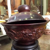 best museum - Natural wild lobular red sandalwood of indian solid bowl with Lid museum grade best collection precious heriloom