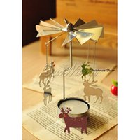Wholesale 2015 Hot sale European Style Windmill Rotation candlestick Romantic Aluminum Revolving Candle Holders DIY Decor Holiday gift
