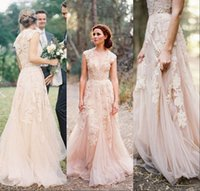 Wholesale Vintage Wedding Dresses Cap Sleeve Lace Champagne Ruffles Beach Wedding Gowns Deep V neck Reem Acra Bridal Gowns