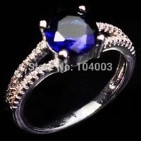gold filled ring - Size Women Blue Sapphire Finger Rings KT White Gold Filled Ring High Quality E20156