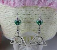 Wholesale Fashions Silvers Harry Potter Triangle Charms Bead Sterling Dangle Earrings For Women Jewelry Pair N1378