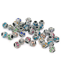 Wholesale Antique Silver Plated Diy Charms Alloy Bead With Crystal Round Brilliant Shape Tibetan Metal Beads Fit European Bracelet Necklace