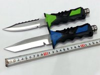 Wholesale Blue green C US diving knife HRC outdoor survival knife sharp knife camping tools