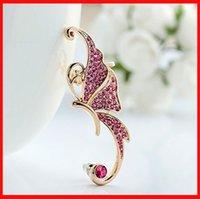 Wholesale 2 colors Rhinestone Crystal Butterfly Ear Cuff Clip earring No pierced ear clip ear hanging earrings statement jewelry women gift