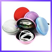 alps canvas - Cute Portable Canvas Round Hard Storage Case for Headset USB Cable Coin Earphone Bag